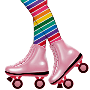 Cartoon drawing of rainbow striped legs wearing pink skates